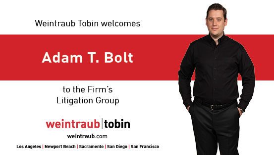 Graphic welcoming Adam T. Bolt to the firm's litigation practice group, and featuring a photo of the attorney.